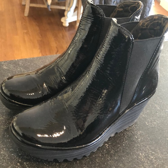 Fly London Patent Boots Sz 39 Worn Once